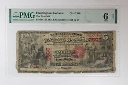 Large Size National Note 1875 5 Huntington, In Pmg G 6 Details Ch. 2508