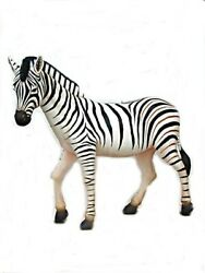 5.5' Black And White Striped Zebra Life Size Resin Statue Animal Prop Display