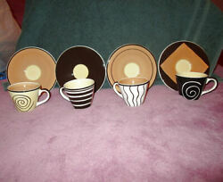 Nib 8x Lot Huesnbrews Espresso Demitasse Cups And Saucers Porcelain Hand Painted