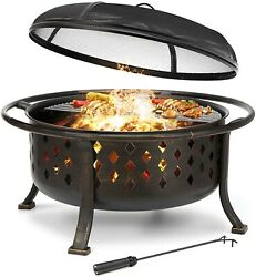 Kingso 36 Fire Pit Outdoor Large Steel Wood Burning Fire Pits Bowl Bbq Grillandnbsp