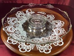 Vtg Large Glass Silver Tone Metal Cake Stand, Footed Pedestal Cake Plate 14