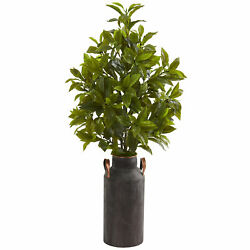 Nearly Natural 32andrdquocoffee Leaf Artificial Plant In Decorative Canister Real Touch