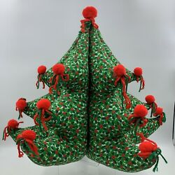 """Vintage Christmas Tree Stuffed Quilted Holly Large Festive Table Top Decor 16"""""""