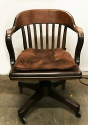 Sikes Swiveling Office Chair Solid Carved Wood Beautiful Design On Castors
