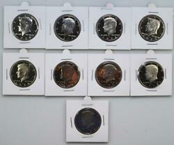 1970-s To 1979-s Proof Kennedy Half Dollar Set All With Frosty Kennedy 9 Coins