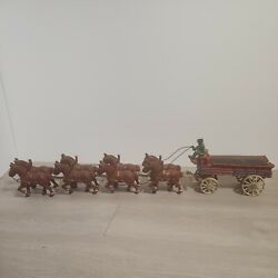 Antique Budweiser Cast Iron Beer Wagon And Clydesdale Horses, 1 Driver