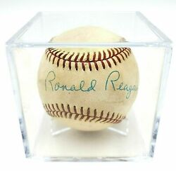 President Ronald Reagan Hand Signed Autographed First Pitch Baseball With Coa