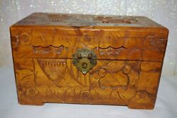Vintage Antique Pirate Hand Carved Wood Treasure Chest Jewelry Trinket Box