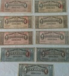 Set Of 9 Mexican Bank Notes 1914/15 One Five Ten And Twenty Pesos Currency