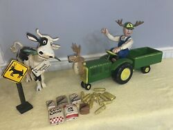 Connie Roberts Caw Commissioned Wood John Deere Tractor,farmer, Cow And Whistles