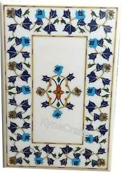 36x48 Marble Sofa Table Lapis Lazuli And Turquoise Stone Inlay Dining Table Top