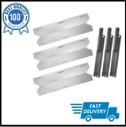 Gas Grill Stainless Steel Heat Plate Cast Iron Burner Repair Replacement 3 Pcs
