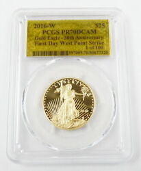 2016 W 25 1/2 Oz American Eagle Gold Coin Pcgs Pr70 Gold Foil First Day Strike