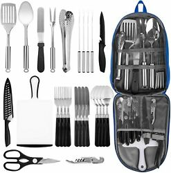 Portable Camping Kitchen Utensil Set Stainless Steel Outdoor Cooking/grilling.