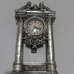 Vintage Silver Plated Metal Clock Hanging On The Wall Or Placed On The Table