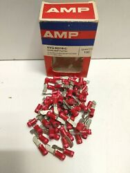 Lot Of 73 New Old Stock Amp Insulated 22-16 Knife Disconnect Splices Avg-kd18-c