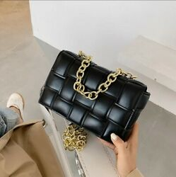 Women Crossbody Black Bag Weave Flap Bags Quality Leather Thick Chain Shoulder $38.00