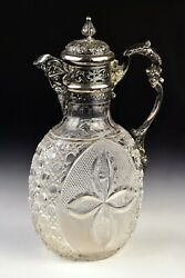 English Sterling Silver And Cut Glass Claret Wine Jug, William Comyns London,