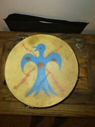 Antique Native American Indian Cherokee Hand Made Painted Double Sided Drum Rare