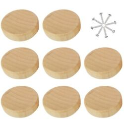 4/8/12pcs Wooden Knob With Screws Round Pull Knobs For Cabinet Drawer