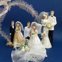 Vintage Wedding Bride Groom Cake Toppers Figurines Lot 3 Couples Ornaments