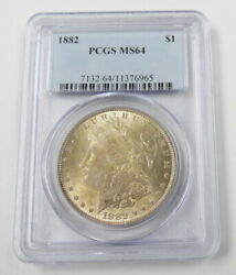 1882 P Us Mint Morgan Silver Dollar Coin Certified Pcgs Ms64 Free Shipping