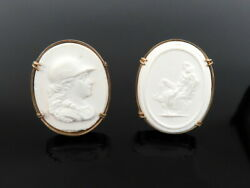 Vintage White Stone Cameo 14k Yellow Gold Large Size Cufflinks