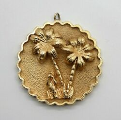 Kitschy And Very Heavy 14k Vintage 1960's Charm With Palm Trees And Monkey