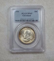 1936 Cleveland Centennial/great Lakes Expo Comm Silver 50c Pcgs Ms 65 Orig Tone