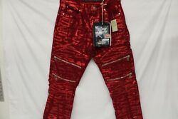 Men's The Heritage By America 76, Red Designer Jeans, Size 34x33 New With Tags
