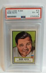 1952 Topps Look N See Babe Ruth 15 Psa 6