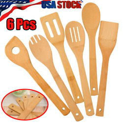6 Piece Bamboo Spatula Set Wooden Spoons Mixing Kitchen Utensil Cooking Tools Us