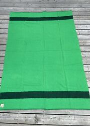 Vintage Ayers Pure Wool Striped Pioneer Camp Trapper Blanket Green 86 X 51