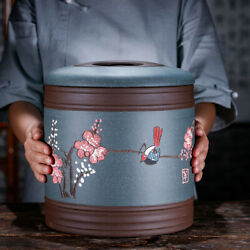 Real Yixing Zisha Tea Canister Jar With Lid Antique Style Puer Tea Storage Caddy