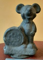 Original Marked Antique Brass Metal Mold Mickey Mouse Walt Disney Collectable