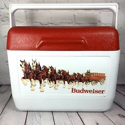 Vintage Gott Tote 6 Budweiser Cooler Lunch Box Ice Chest Portable Red White 1806