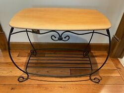 Longaberger Large Library Table Wrought Iron Warm Brown Shelf Top