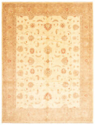 Vintage Hand-knotted Carpet 9'0 X 12'1 Traditional Cream Wool Area Rug