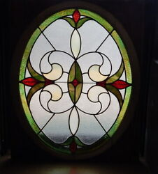 Antique Stained Glass Window Oval Frame Victorian Church Arts Crafts