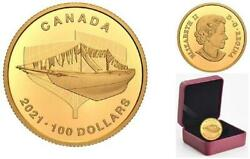 Canada - 2021 And039launch - 100th Anniv. Of Bluenoseand039 Proof 100 1/4 Oz Gold Coin