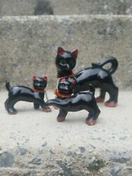 Vintage Redware 3 Black Cats Kittens Chained To Mother Cat Figurines Japan