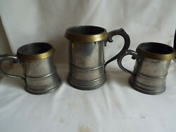 Excellent Antique Set Of 3 Pewter And Brass Tankards By Farmiloe And Sons London.vr