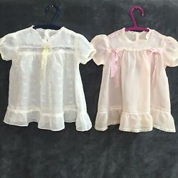 Lot Of 2 Antique Vintage Baby Girls Pink Yellow Lace Ribbon Sheers Dress 12mos