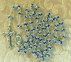 Blue Glass Rosary Double Capped Silver Toned Filigree, Holy Card, Rosary Booklet