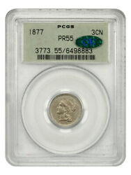 1877 3cn Pcgs/cac Pr 55 Ogh Scarce Proof-only Issue Old Green Label Holder
