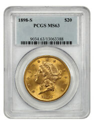 1898-s 20 Pcgs Ms63 - Liberty Double Eagle - Gold Coin