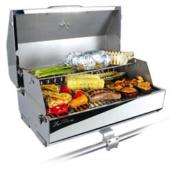 Boat Gas Grill Marine Stainless Steel Rv Barbecue Thermometer Bbq Grills Lid New