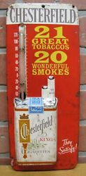 Chesterfield Cigarettes Old Ad Thermometer Sign Embossed Tin Ligget And Myers