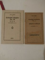 Knights Templar By Laws Of Columbia Sc Chapter 1921 An Columbia Commandery 1911