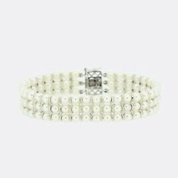 Cultured Pearl And Diamond Three Strand Bracelet 18ct White Gold